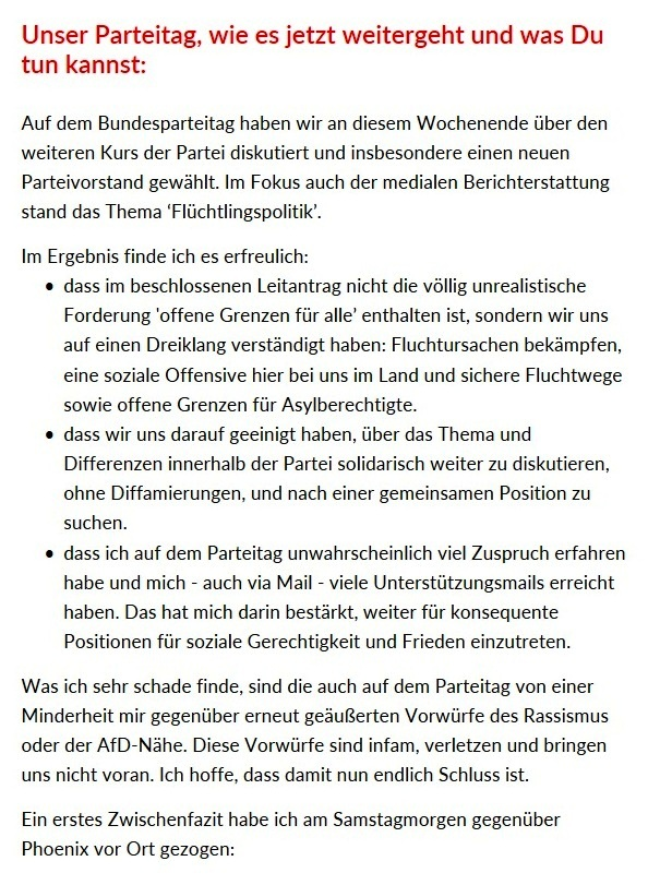 Aus dem Posteingang vom Team Sahra - Team Sahra: Unser Parteitag in Leipzig!