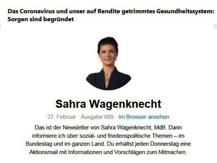 Aus dem Posteingang von Team Sahra vom 27.02.2020 - Sahra Wagenknecht