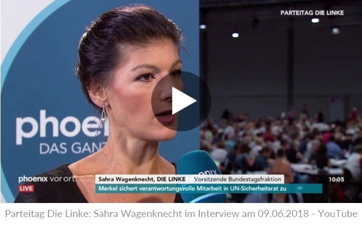 Aus dem Posteingang vom Team Sahra - Parteitag Die Linke: Sahra Wagenknecht im Interview am 09.06.2018