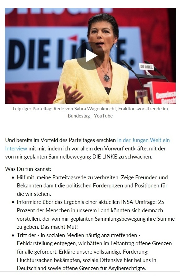 Aus dem Posteingang vom Team Sahra - Leipziger Bundestagsrede von der Fraktionsvorsitzenden DIE LINKE im Deutschen Bundestag Dr. Sahra Wagenknecht am 10. Juni 2018