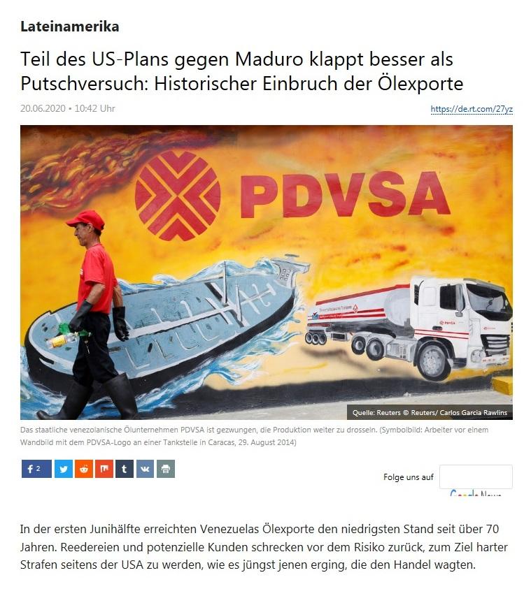 Lateinamerika - Teil des US-Plans gegen Maduro klappt besser als Putschversuch: Historischer Einbruch der Ölexporte - RT Deutsch - 20.06.2020