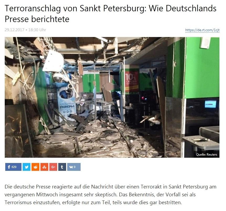 Terroranschlag von Sankt Petersburg: Wie Dutschlands  Presse berichtete