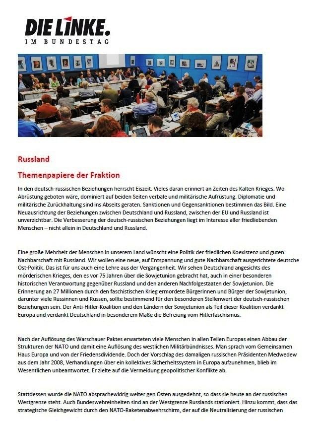 Themenpapiere zu Russland der Fraktion DIE LINKE im Bundestag - Aus dem Posteingang von Siegfried Dienel vom 27.05.2021 - Abschnitt 1
