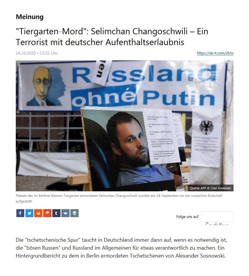 Meinung - 'Tiergarten-Mord': Selimchan Changoschwili – Ein Terrorist mit deutscher Aufenthaltserlaubnis - RT Deutsch - 14.10.2020