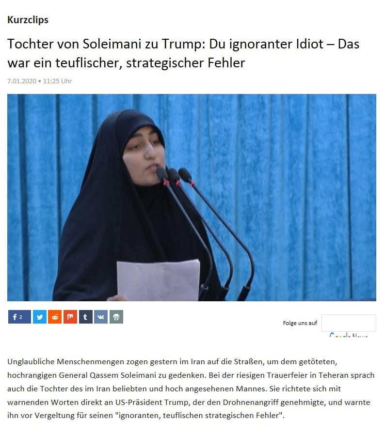 Kurzclips -  Tochter von Soleimani zu Trump: Du ignoranter Idiot – Das war ein teuflischer, strategischer Fehler