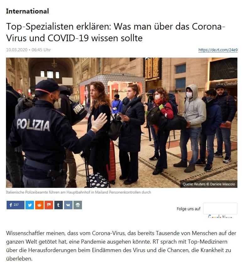 International - Top-Spezialisten erklären: Was man über das Corona-Virus und COVID-19 wissen sollte - RT Deutsch - 10.03.2020
