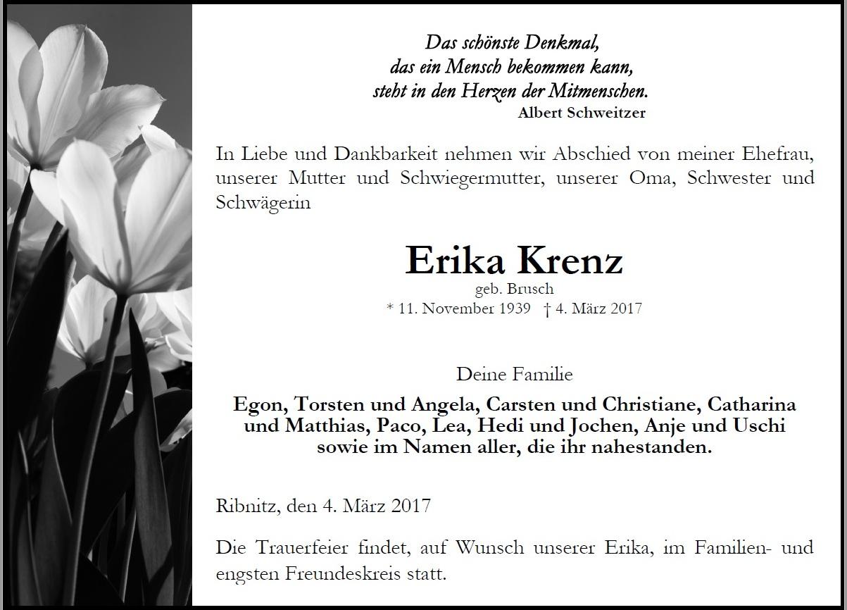 Traueranzeige von Erika Krenz - geb. am 11. November 1939 - gest. am 4.März 2017