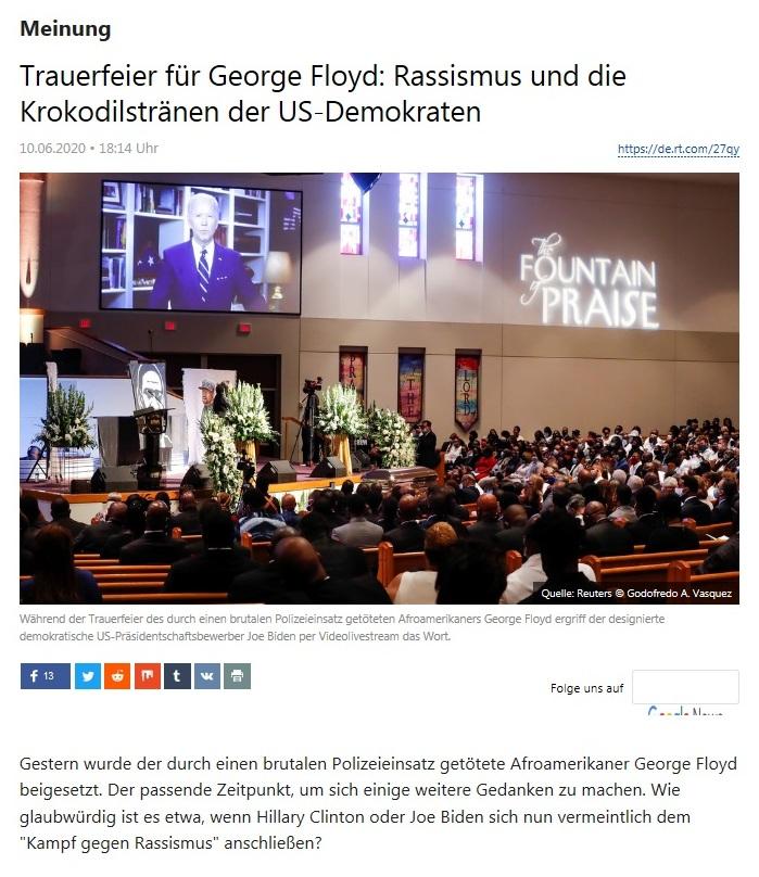 Meinung - Trauerfeier für George Floyd: Rassismus und die Krokodilstränen der US-Demokraten  - RT Deutsch - 10.06.2020