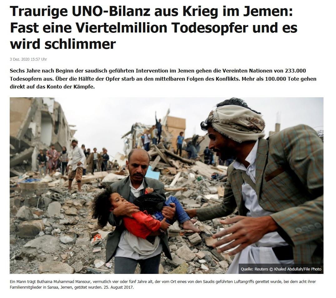 Traurige UNO-Bilanz aus Krieg im Jemen: Fast eine Viertelmillion Todesopfer und es wird schlimmer - RT DE - 3 Dez. 2020 15:57 Uhr