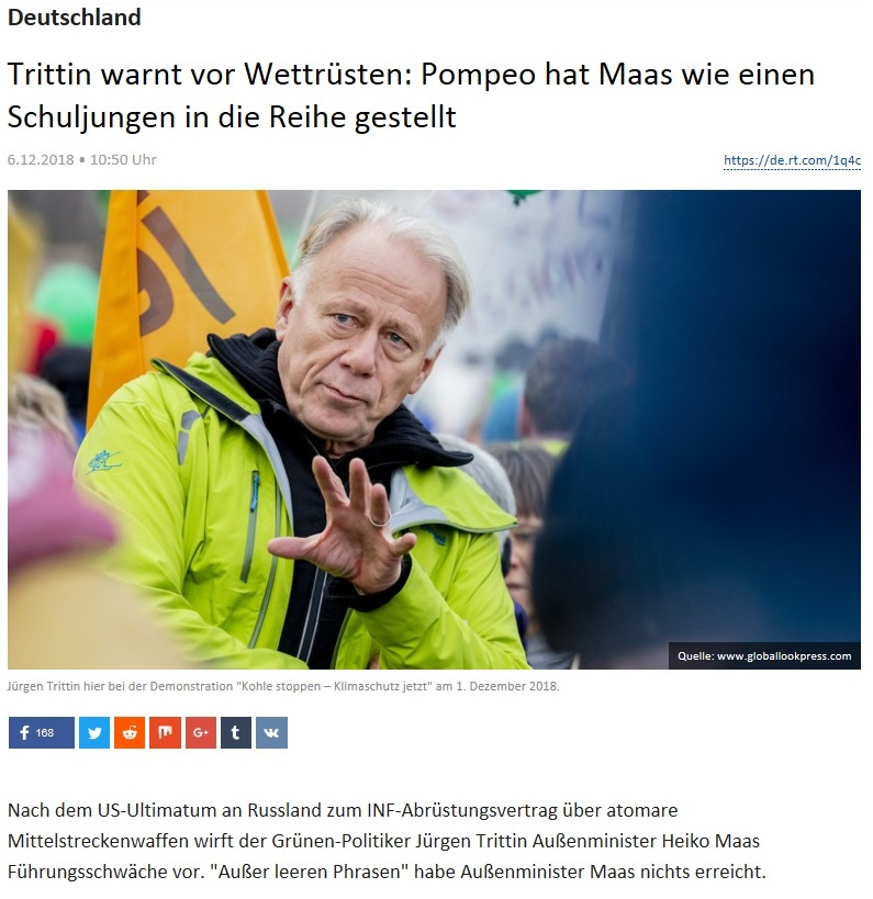 Deutschland - Trittin warnt vor Wettrüsten: Pompeo hat Maas wie einen Schuljungen in die Reihe gestellt