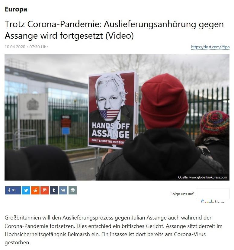 Europa - Trotz Corona-Pandemie: Auslieferungsanhörung gegen Assange wird fortgesetzt (Video)  - RT Deutsch - 10.04.2020
