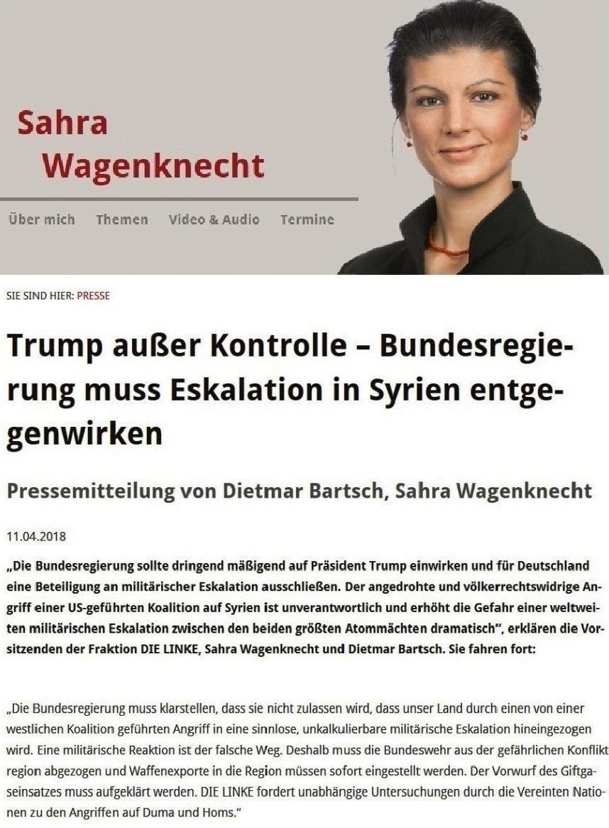 Trump außer Kontrolle – Bundesregierung muss Eskalation in Syrien entgegenwirken - Pressemitteilung von Dietmar Bartsch, Sahra Wagenknecht