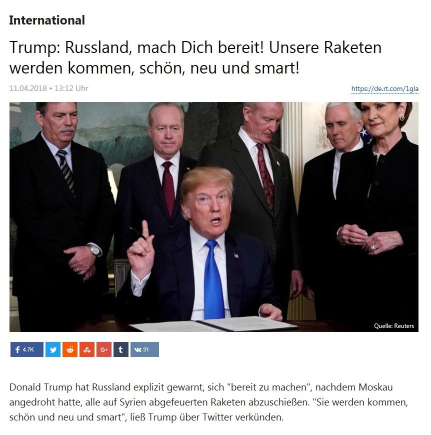 International - Trump: Russland, mach Dich bereit! Unsere Raketen werden kommen, schön, neu und smart!