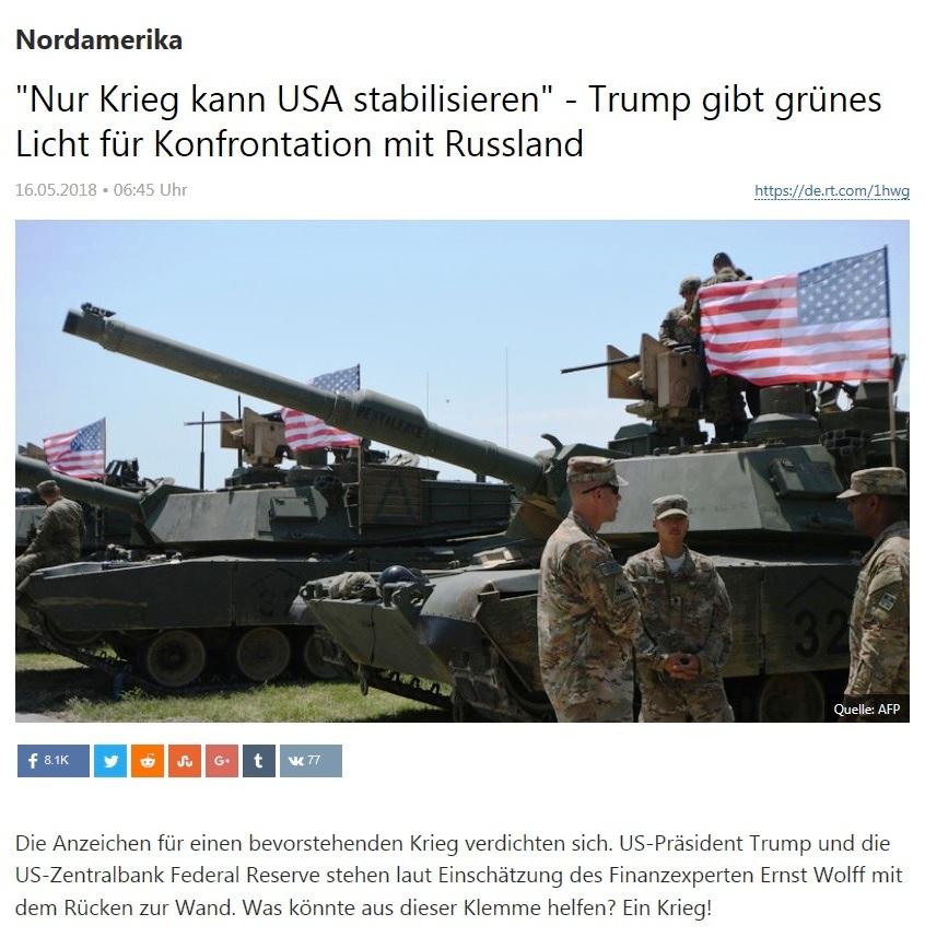 Nordamerika - 'Nur Krieg kann USA stabilisieren' - Trump gibt grünes Licht für Konfrontation mit Russland