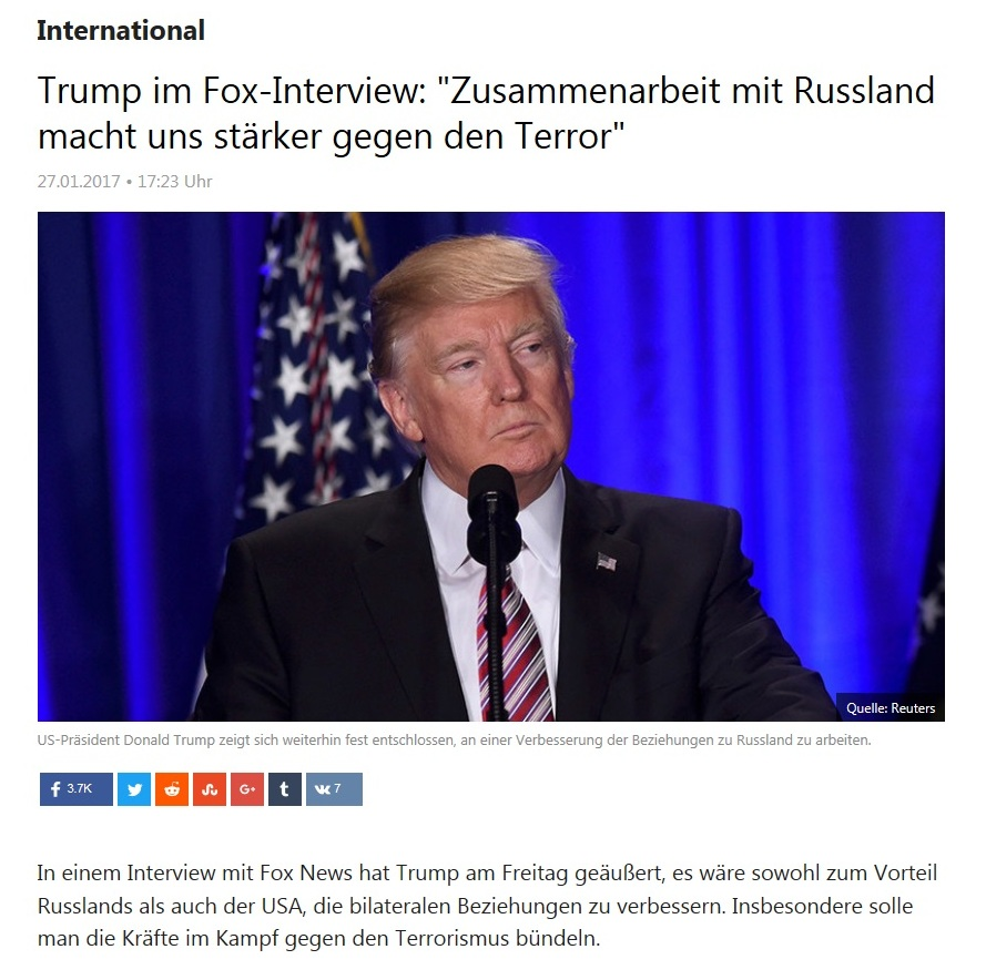 Entspannt sich die Lage nach Donald Trumps Amtsantritt zwischen den USA und Russland wieder? - Trump im Fox-Interview: Zusammenarbeit mit Russland macht uns stärker gegen den Terror
