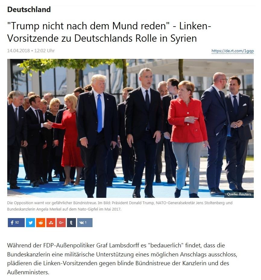 Deutschland - 'Trump nicht nach dem Mund reden' - Linken-Vorsitzende zu Deutschlands Rolle in Syrien