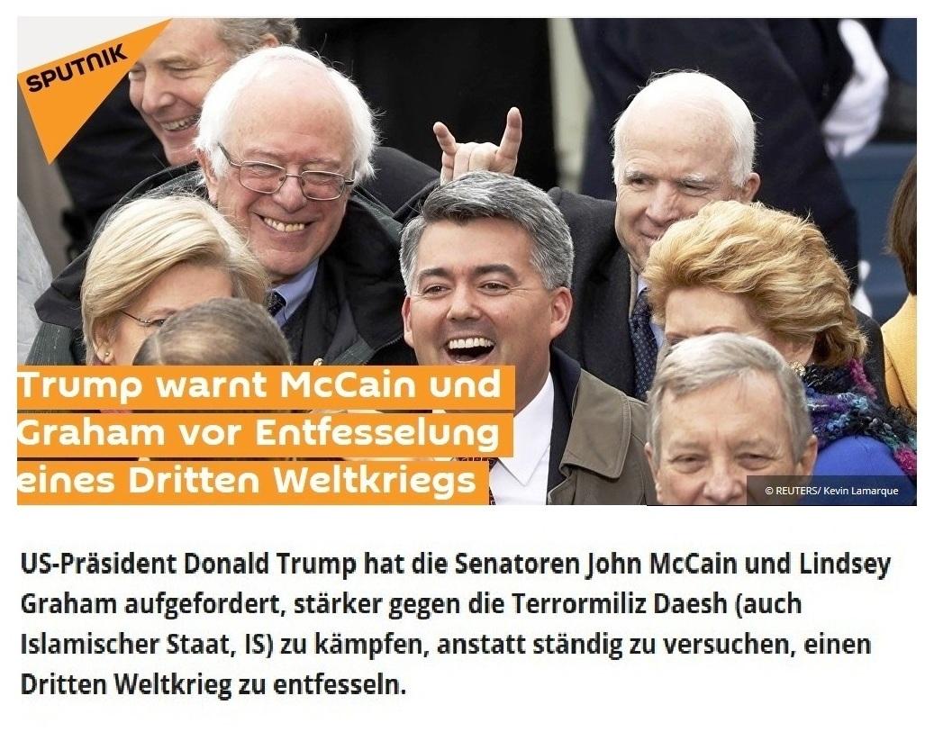 Trump warnt McCain und Graham vor Entfesselung eines Dritten Weltkriegs