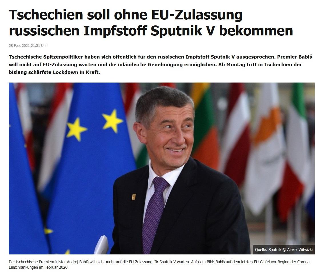 Tschechien soll ohne EU-Zulassung russischen Impfstoff Sputnik V bekommen - RT DE - 28 Feb. 2021 21:31 Uhr