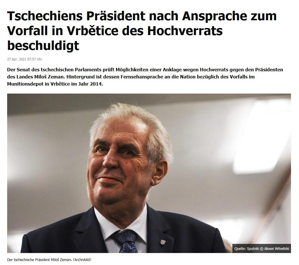 Tschechiens Präsident nach Ansprache zum Vorfall in Vrbětice des Hochverrats beschuldigt -  RT DE - 27 Apr. 2021 07:57 Uhr