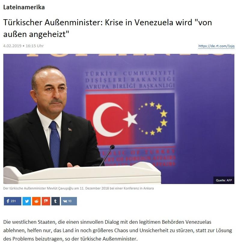 Lateinamerika - Türkischer Außenminister: Krise in Venezuela wird 'von außen angeheizt'