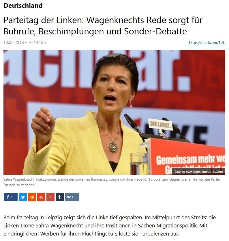 Deutschland - Parteitag der Linken: Wagenknechts Rede sorgt für Buhrufe, Beschimpfungen und Sonder-Debatte