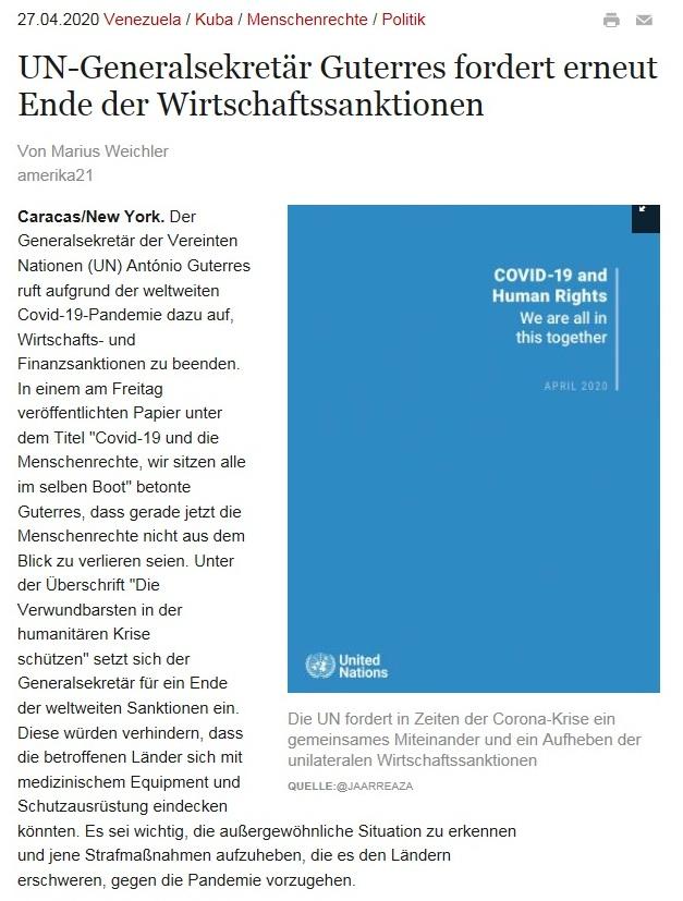 UN-Generalsekretär Guterres fordert erneut Ende der Wirtschaftssanktionen  - amerika21 - Nachrichten und Analysen aus Lateinamerika - 27.04.2020
