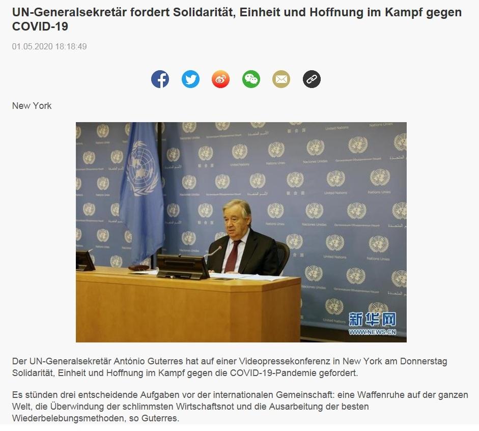 UN-Generalsekretär fordert Solidarität, Einheit und Hoffnung im Kampf gegen COVID-19 - CRI online Deutsch - 01.05.2020