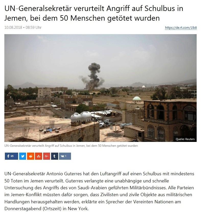 Newsticker - UN-Generalsekretär verurteilt Angriff auf Schulbus in Jemen, bei dem 50 Menschen getötet wurden
