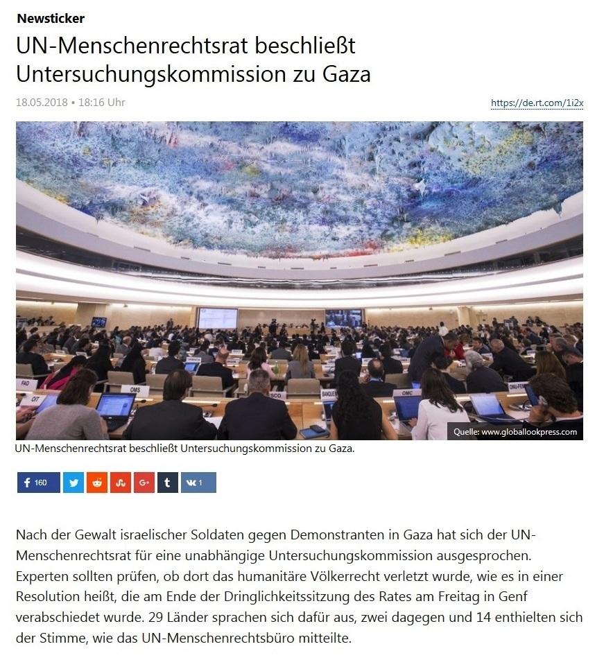 Newsticker - UN-Menschenrechtsrat beschließt Untersuchungskommission zu Gaza