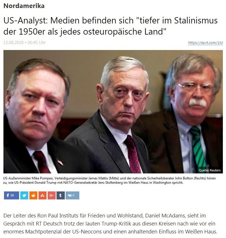 Nordamerika - US-Analyst: Medien befinden sich 'tiefer im Stalinismus der 1950er als jedes osteuropäische Land'