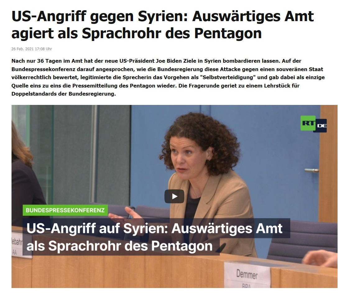US-Angriff gegen Syrien: Auswärtiges Amt agiert als Sprachrohr des Pentagon - RT DE - 26 Feb. 2021 17:08 Uhr