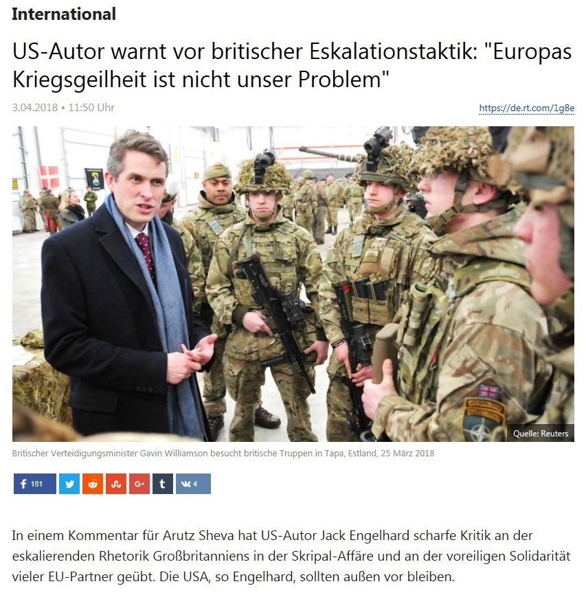 International - US-Autor warnt vor britischer Eskalationstaktik: 'Europas Kriegsgeilheit ist nicht unser Problem'