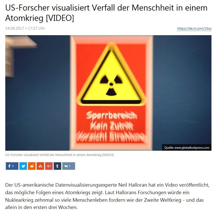 US-Forscher visualisiert Verfall der Menschheit in einem Atomkrieg [VIDEO]