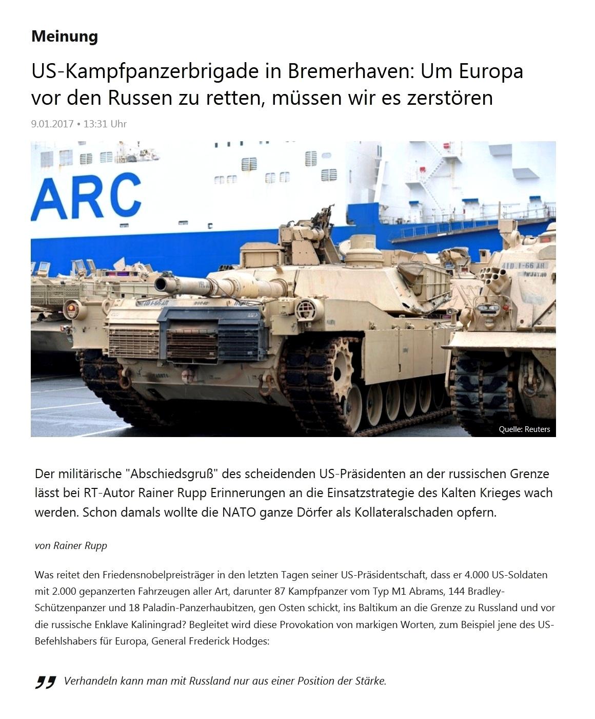 US-Kampfpanzerbrigade in Bremerhaven: Um Europa vor den Russen zu retten, müssen wir es zerstören
