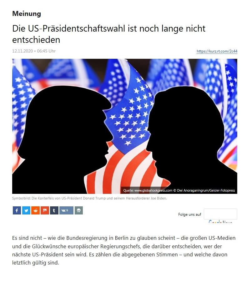 Meinung - Die US-Präsidentschaftswahl ist noch lange nicht entschieden - RT Deutsch - 11.11.2020