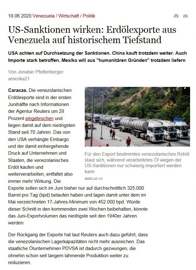 US-Sanktionen wirken: Erdölexporte aus Venezuela auf historischem Tiefstand - USA achten auf Durchsetzung der Sanktionen. China kauft trotzdem weiter. Auch Importe stark betroffen. Mexiko will aus 'humanitären Gründen' trotzdem liefern - amerika21 - Nachrichten und Analysen aus Lateinamerika - 18.06.2020