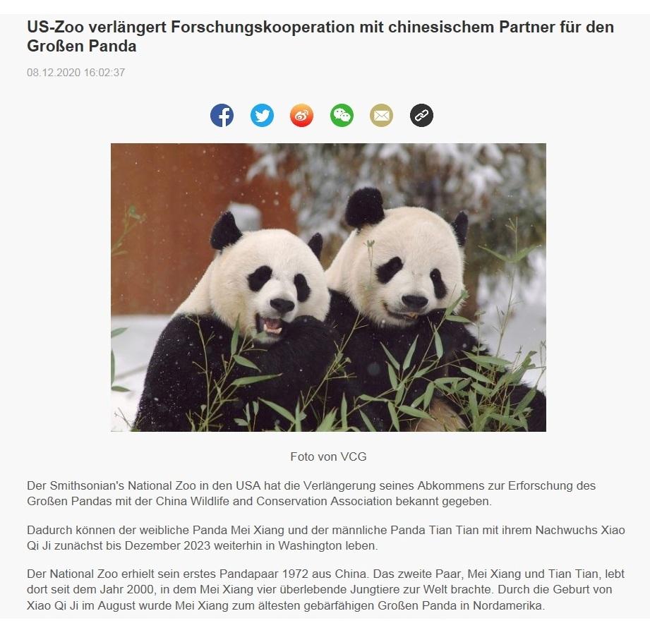 US-Zoo verlängert Forschungskooperation mit chinesischem Partner für den Großen Panda - CRI online Deutsch - 08.12.2020 16:02:37