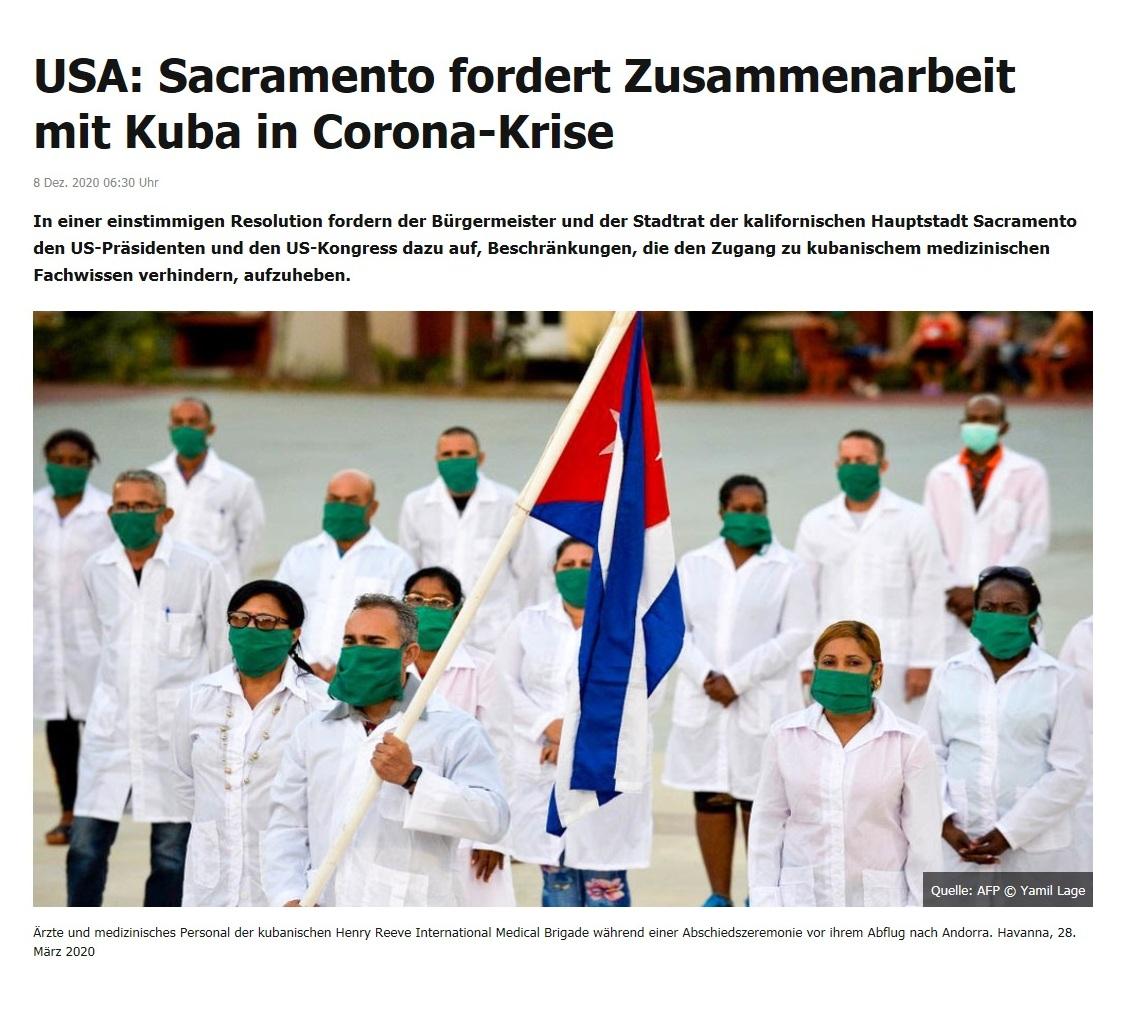 USA: Sacramento fordert Zusammenarbeit mit Kuba in Corona-Krise - RT DE - 8. Dez. 2020 06:30 Uhr