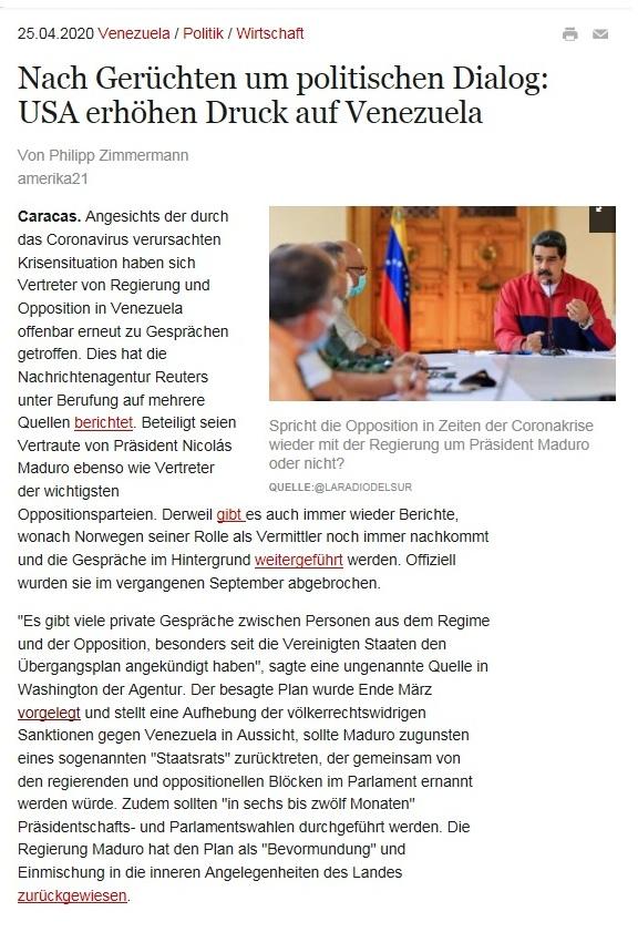 Nach Gerüchten um politischen Dialog: USA erhöhen Druck auf Venezuela - amerika21 - Nachrichten und Analysen aus Lateinamerika - 25.04.2020