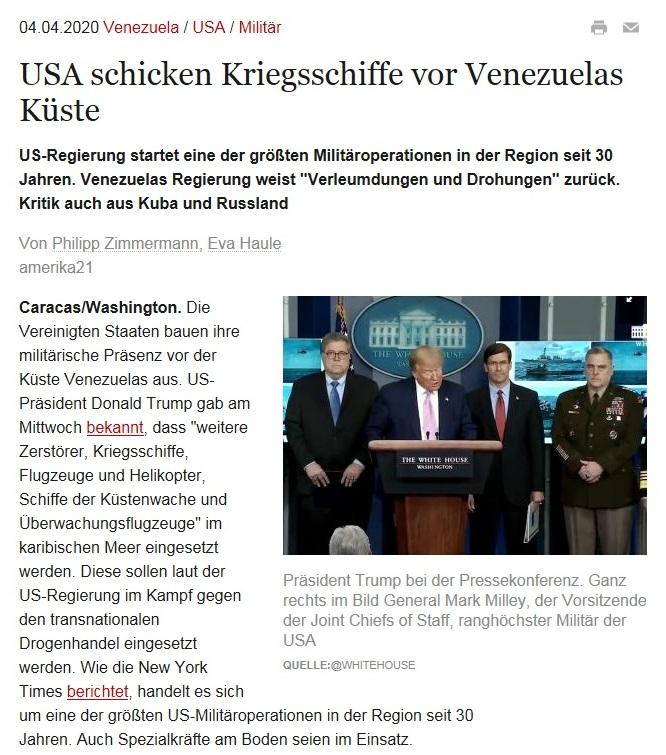 Lateinamerika - USA schicken Kriegsschiffe vor Venezuelas Küste - amerika21 - Nachrichten und Analysen aus Lateinamerika - 4.04.2020