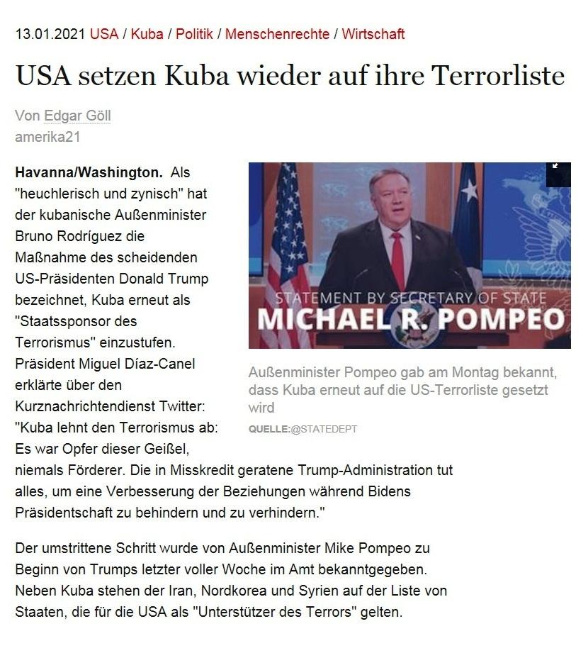 USA setzen Kuba wieder auf ihre Terrorliste - Von Edgar Göll - amerika21 - Nachrichten und Analysen aus Lateinamerika - 13.01.2021