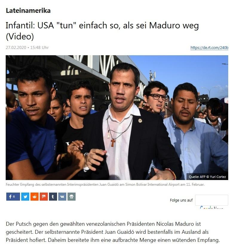 Lateinamerika - Infantil: USA 'tun' einfach so, als sei Maduro weg (Video) - RT DEUTSCH - 27.02.2020