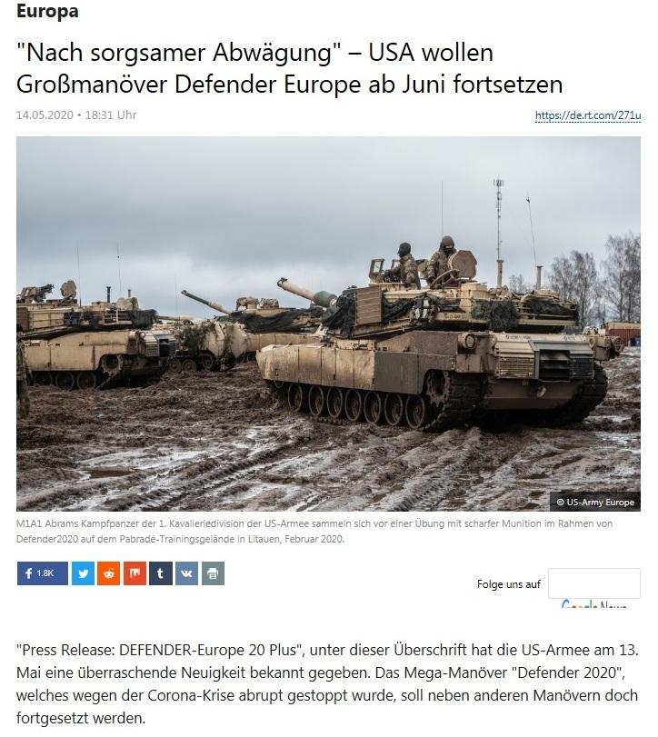 Europa - 'Nach sorgsamer Abwägung' – USA wollen Großmanöver Defender Europe ab Juni fortsetzen - RT Deutsch - 14.05.2020