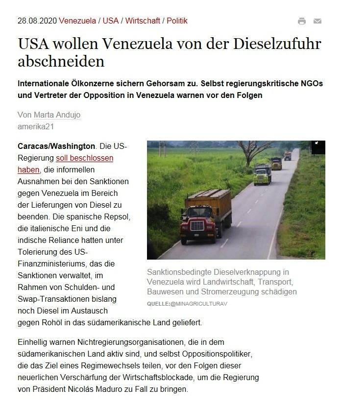 USA wollen Venezuela von der Dieselzufuhr abschneiden - Internationale Ölkonzerne sichern Gehorsam zu. Selbst regierungskritische NGOs und Vertreter der Opposition in Venezuela warnen vor den Folgen - amerika21 - Nachrichten und Analysen aus Lateinamerika - 28.08.2020