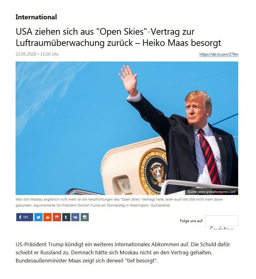 International - USA ziehen sich aus 'Open Skies'-Vertrag zur Luftraumüberwachung zurück – Heiko Maas besorgt - RT Deutsch - 22.05.2020