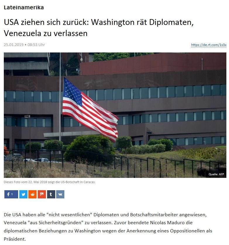 Lateinamerika - USA ziehen sich zurück: Washington rät Diplomaten, Venezuela zu verlassen