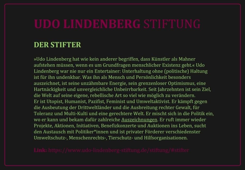 UDO LINDENBERG STIFUNG - DER STIFTER - Link: https://www.udo-lindenberg-stiftung.de/stiftung/#stifter