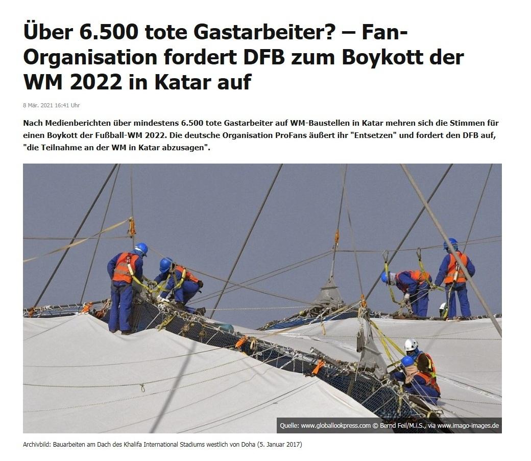Über 6.500 tote Gastarbeiter? – Fan-Organisation fordert DFB zum Boykott der WM 2022 in Katar auf - RT DE - 8 Mär. 2021 16:41 Uhr