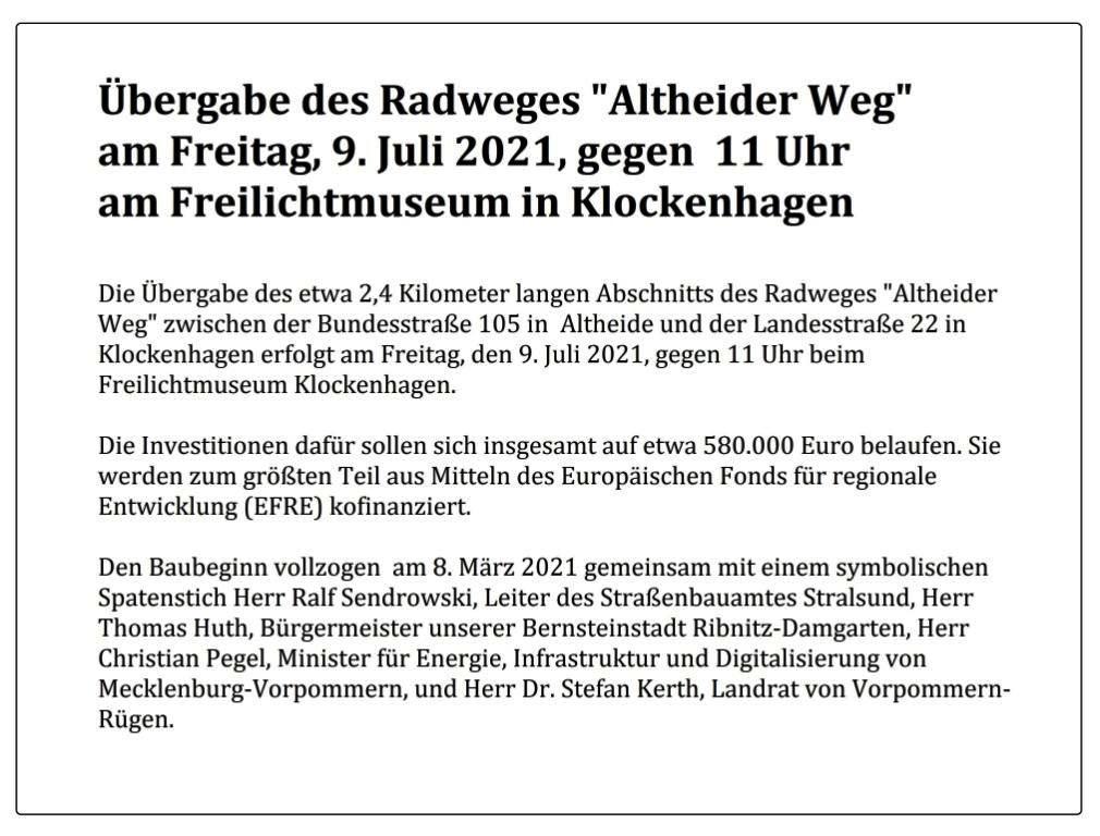 Übergabe des Radweges 'Altheider Weg' am Freitag, 9. Juli 2021, gegen 11 Uhr am Freilichtmuseum in Klockenhagen.