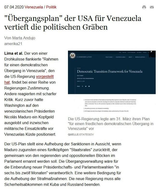 'Übergangsplan' der USA für Venezuela vertieft die politischen Gräben - amerika21 - Nachrichten und Analysen aus Lateinamerika - 7.04.2020